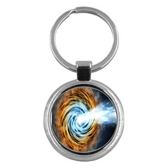 A Blazar Jet In The Middle Galaxy Appear Especially Bright Key Chains (round)  by Mariart