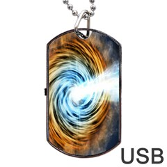 A Blazar Jet In The Middle Galaxy Appear Especially Bright Dog Tag Usb Flash (two Sides) by Mariart