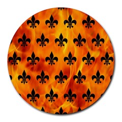 Royal1 Black Marble & Fire Round Mousepads by trendistuff