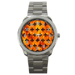 Royal1 Black Marble & Fire Sport Metal Watch by trendistuff