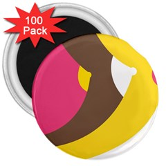 Breast Pink Brown Yellow White Rainbow 3  Magnets (100 Pack) by Mariart