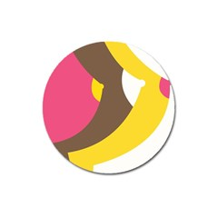 Breast Pink Brown Yellow White Rainbow Magnet 3  (round) by Mariart