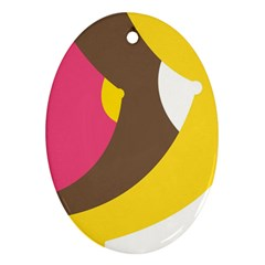 Breast Pink Brown Yellow White Rainbow Oval Ornament (two Sides) by Mariart