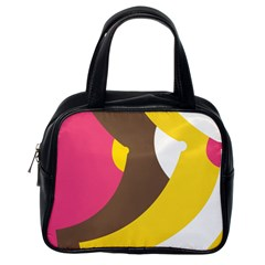 Breast Pink Brown Yellow White Rainbow Classic Handbags (one Side) by Mariart