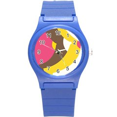 Breast Pink Brown Yellow White Rainbow Round Plastic Sport Watch (s) by Mariart