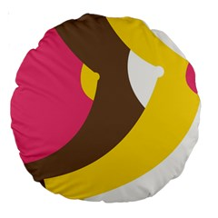 Breast Pink Brown Yellow White Rainbow Large 18  Premium Round Cushions by Mariart