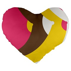 Breast Pink Brown Yellow White Rainbow Large 19  Premium Flano Heart Shape Cushions by Mariart