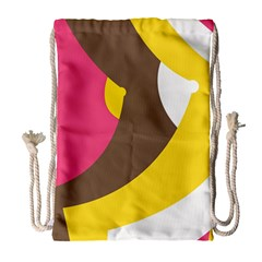 Breast Pink Brown Yellow White Rainbow Drawstring Bag (large)