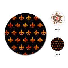 Royal1 Black Marble & Fire (r) Playing Cards (round)  by trendistuff
