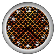 Scales1 Black Marble & Fire Wall Clocks (silver)