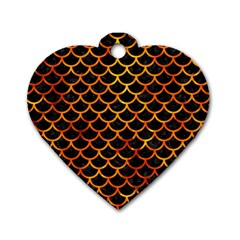 Scales1 Black Marble & Fire Dog Tag Heart (two Sides) by trendistuff