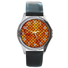 Scales1 Black Marble & Fire (r) Round Metal Watch by trendistuff