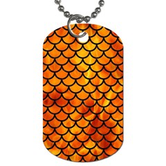 Scales1 Black Marble & Fire (r) Dog Tag (one Side) by trendistuff