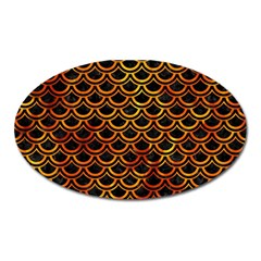 Scales2 Black Marble & Fire Oval Magnet by trendistuff
