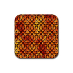 Scales2 Black Marble & Fire (r) Rubber Coaster (square)  by trendistuff