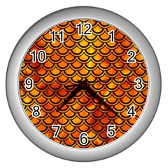 Scales2 Black Marble & Fire (r) Wall Clocks (silver)