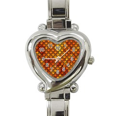 Scales2 Black Marble & Fire (r) Heart Italian Charm Watch by trendistuff