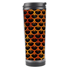 Scales3 Black Marble & Fire Travel Tumbler by trendistuff