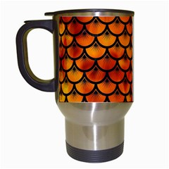 Scales3 Black Marble & Fire (r) Travel Mugs (white) by trendistuff