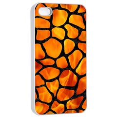 Skin1 Black Marble & Fire Apple Iphone 4/4s Seamless Case (white) by trendistuff