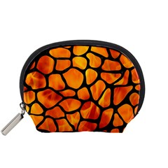 Skin1 Black Marble & Fire Accessory Pouches (small)  by trendistuff