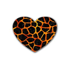 Skin1 Black Marble & Fire (r) Heart Coaster (4 Pack)  by trendistuff