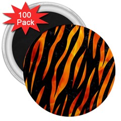 Skin3 Black Marble & Fire 3  Magnets (100 Pack) by trendistuff