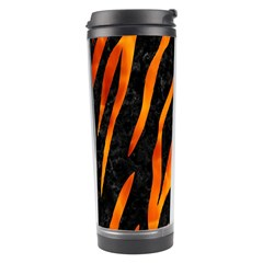 Skin3 Black Marble & Fire Travel Tumbler by trendistuff