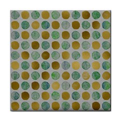 Green And Golden Dots Pattern                            Face Towel by LalyLauraFLM