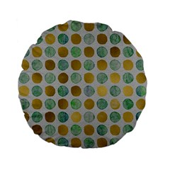 Green And Golden Dots Pattern                      Standard 15  Premium Flano Round Cushion by LalyLauraFLM