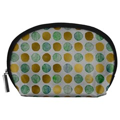 Green And Golden Dots Pattern                            Accessory Pouch by LalyLauraFLM