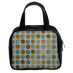 Green And Golden Dots Pattern                            Classic Handbag (two Sides) by LalyLauraFLM