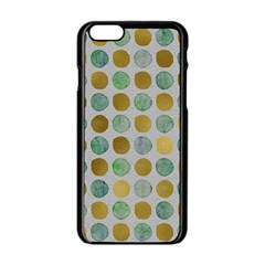 Green And Golden Dots Pattern                      Apple Iphone 6/6s White Enamel Case by LalyLauraFLM