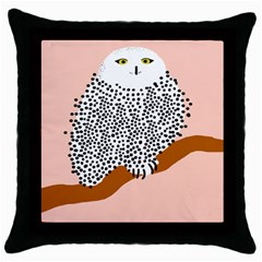 Animals Bird Owl Pink Polka Dots Throw Pillow Case (black) by Mariart