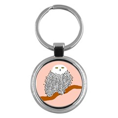 Animals Bird Owl Pink Polka Dots Key Chains (round)  by Mariart
