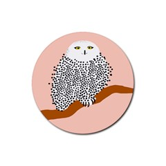 Animals Bird Owl Pink Polka Dots Rubber Round Coaster (4 Pack)  by Mariart