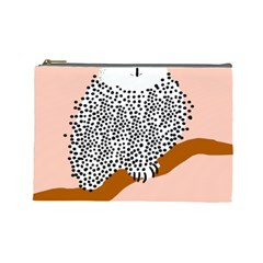 Animals Bird Owl Pink Polka Dots Cosmetic Bag (large)  by Mariart