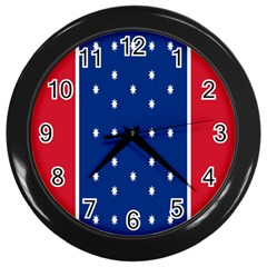 British American Flag Red Blue Star Wall Clocks (black) by Mariart