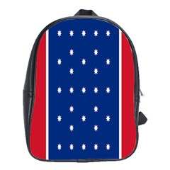 British American Flag Red Blue Star School Bag (large) by Mariart
