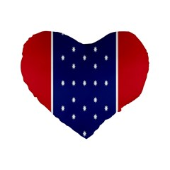 British American Flag Red Blue Star Standard 16  Premium Flano Heart Shape Cushions by Mariart
