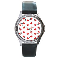 Canadian Maple Leaf Pattern Round Metal Watch by Mariart