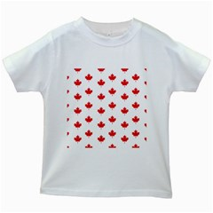Canadian Maple Leaf Pattern Kids White T Shirts