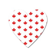 Canadian Maple Leaf Pattern Heart Magnet by Mariart
