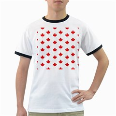 Canadian Maple Leaf Pattern Ringer T-shirts by Mariart