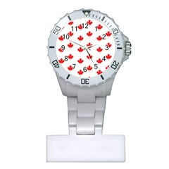 Canadian Maple Leaf Pattern Plastic Nurses Watch by Mariart