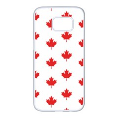 Canadian Maple Leaf Pattern Samsung Galaxy S7 Edge White Seamless Case