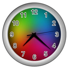 Bright Lines Resolution Image Wallpaper Rainbow Wall Clocks (silver)  by Mariart