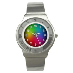 Bright Lines Resolution Image Wallpaper Rainbow Stainless Steel Watch by Mariart