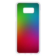 Bright Lines Resolution Image Wallpaper Rainbow Samsung Galaxy S8 Plus White Seamless Case