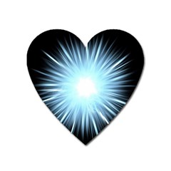 Bright Light On Black Background Heart Magnet